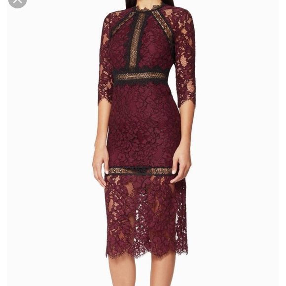 Nicholas Marisa Burgundy Black Lace Midi Dress